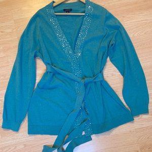 Lands End Cardigan Cotton Cashmere Blend Sequin 2X